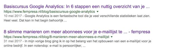 Paginatitels in Google