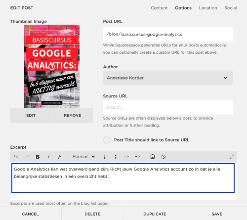 Meta description tag van blogposts aanpassen in Squarespace