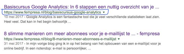 Hoe de URL naar voren komt in zoekresultaten.
