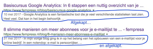Meta description tags afgekapt in Google