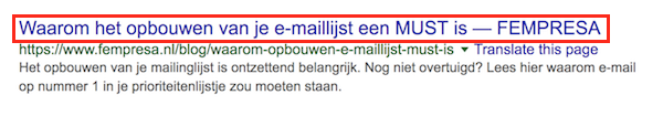 Als de zoektermen die de gebruiker invoert voorkomen in de titel of de beschrijving, worden deze door Google vet gemaakt.