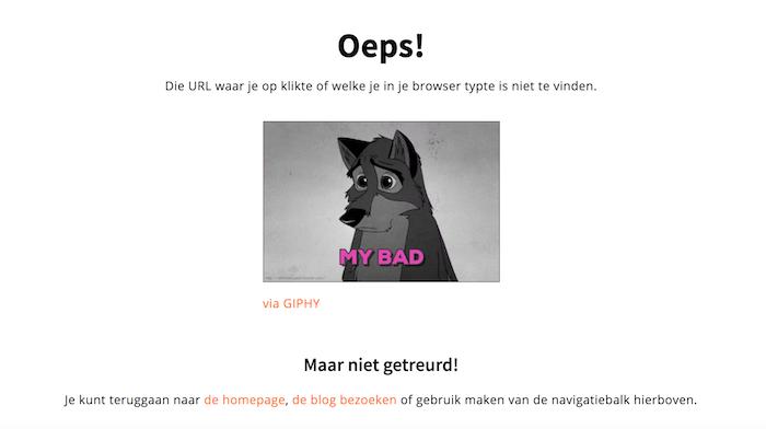 Mijn eigen 404 pagina