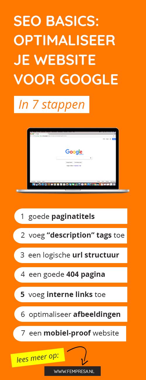Dit artikel is een soort van basiscursus SEO (search engine optimization - oftewel zoekmachine optimalisatie). Ik leg je uit wat SEO is en laat je stap voor stap zien wat je kunt doen om ervoor te zorgen dat jouw website beter vindbaar is in zoekmachines als Google.