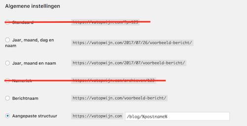 Kies bij URL instellingen in ieder geval niet voor standaard of numeriek.
