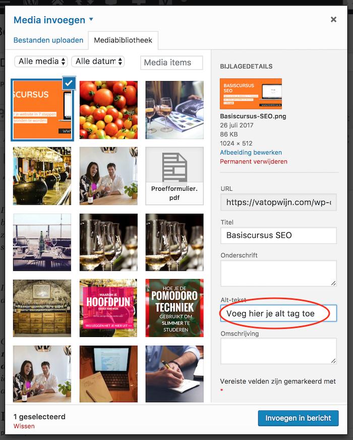 Alt tags aan afbeeldingen toevoegen Wordpress