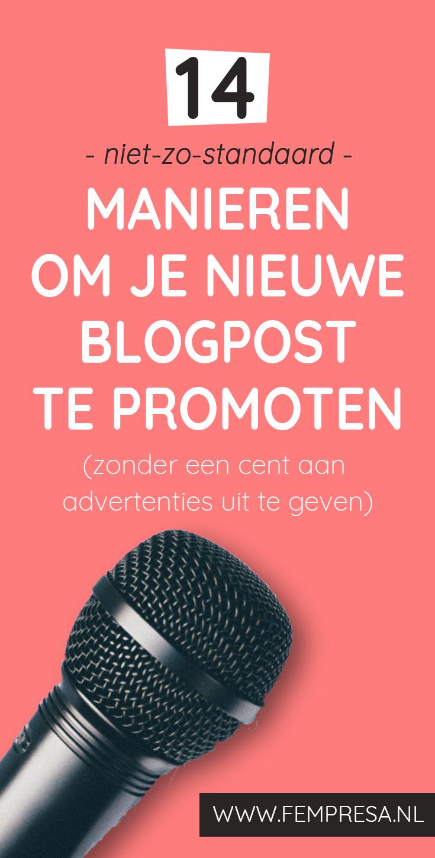 Hoe voorkom jij dat je nieuwste briljante blogpost wordt gelezen door maar een handvol lezers? Ik laat je 12 - niet-zo-standaard - manieren zien om je nieuwe artikel te promoten. Zónder dat je geld hoeft te besteden aan advertenties.