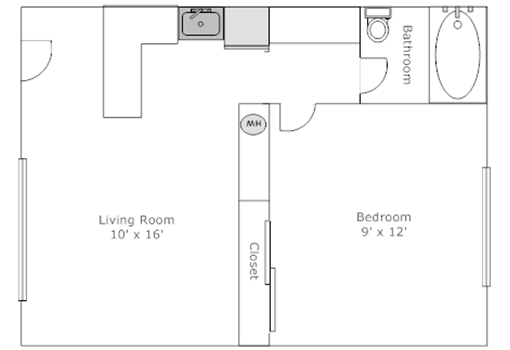 One bedroom unit