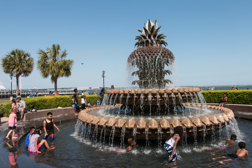 Children having the time of their lives in the Pineapple Fountain!