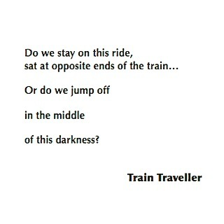 2/3 of train traveller's tale of making a huge decision... #beatingheart #mythology