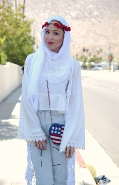 White wide sleeves top  Light blue denim jeans  White hijab  Flower crown  Statement handbag