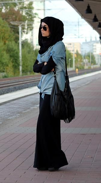 Long sleeves maxi dress  Chambray denim shirt over the dress  Black scarf  Fringe handbag  Sunglasses