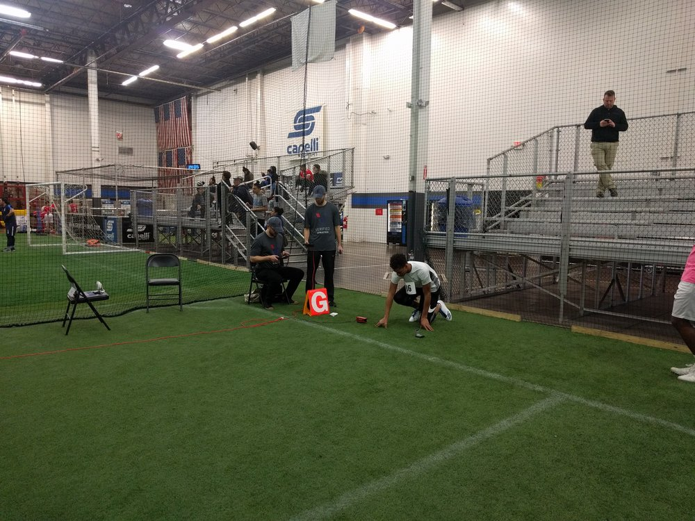 We use the same laser timing systems used by the NFL combine to precisely measure the 40 yard dash time
