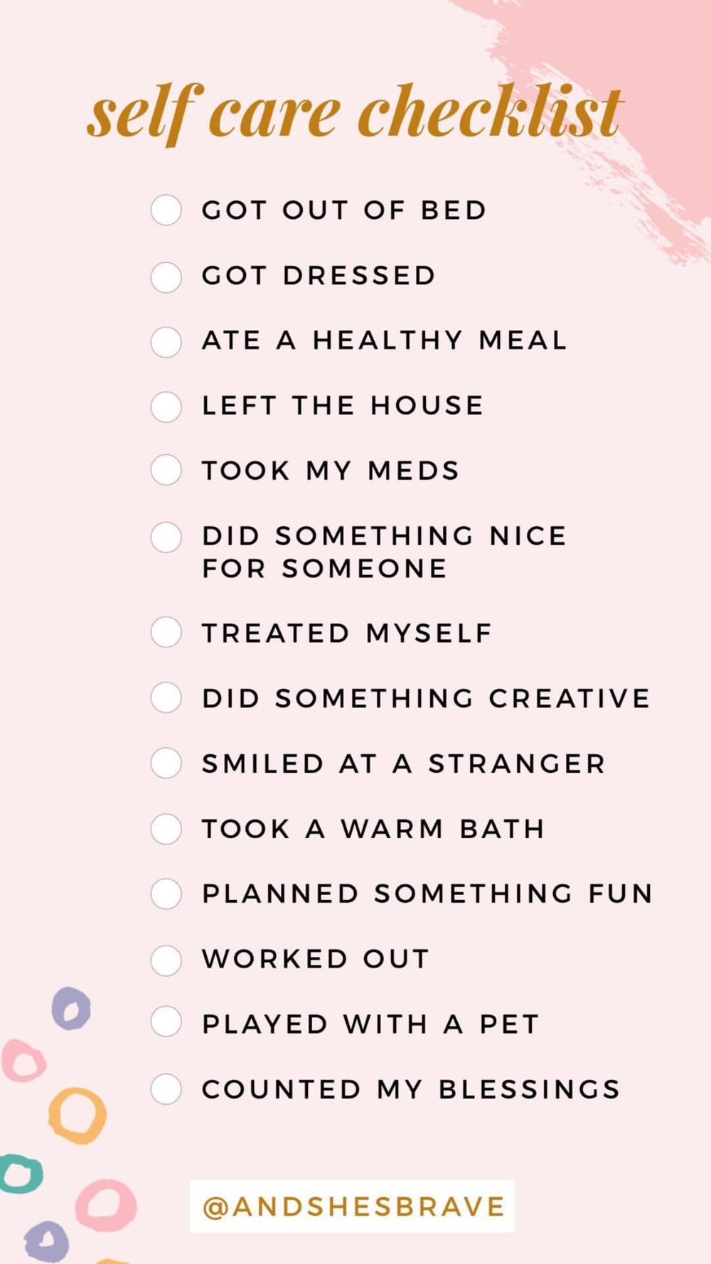 checklist courtesy of @andshesbrave