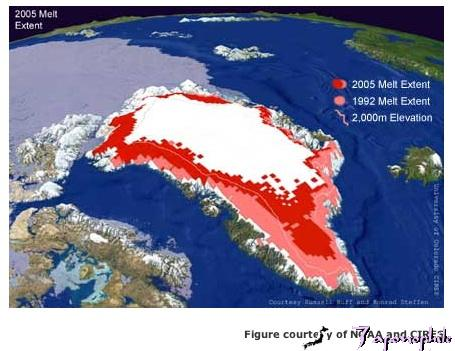 "The above image reflects the astounding rate of glacial melting in Greenland. The ""freshening"" of this zone of the North Atlantic Ocean has been correlated to changes in THC. If the THC was reduced by glacial melt, less heat would be transported north."