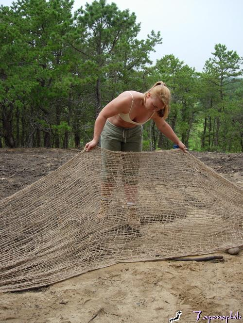 "Jute netting , also inappropriately called ""erosion cloth"". We use jute as a cover for sloped bare ground and to construct bio logs."