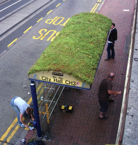 "Urban ""Tray Based""  green roofs can be custom  ""coiffed"" for specific plantings. These flexible systems give us options for all sorts of structures...when we think about it...doesn't it seem like a good idea to turn carbon dioxide into oxygen and manage storm water at the same time?"
