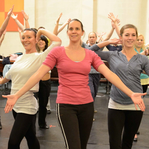 Julie Simmons in rehearsal for Anything Goes (centre)