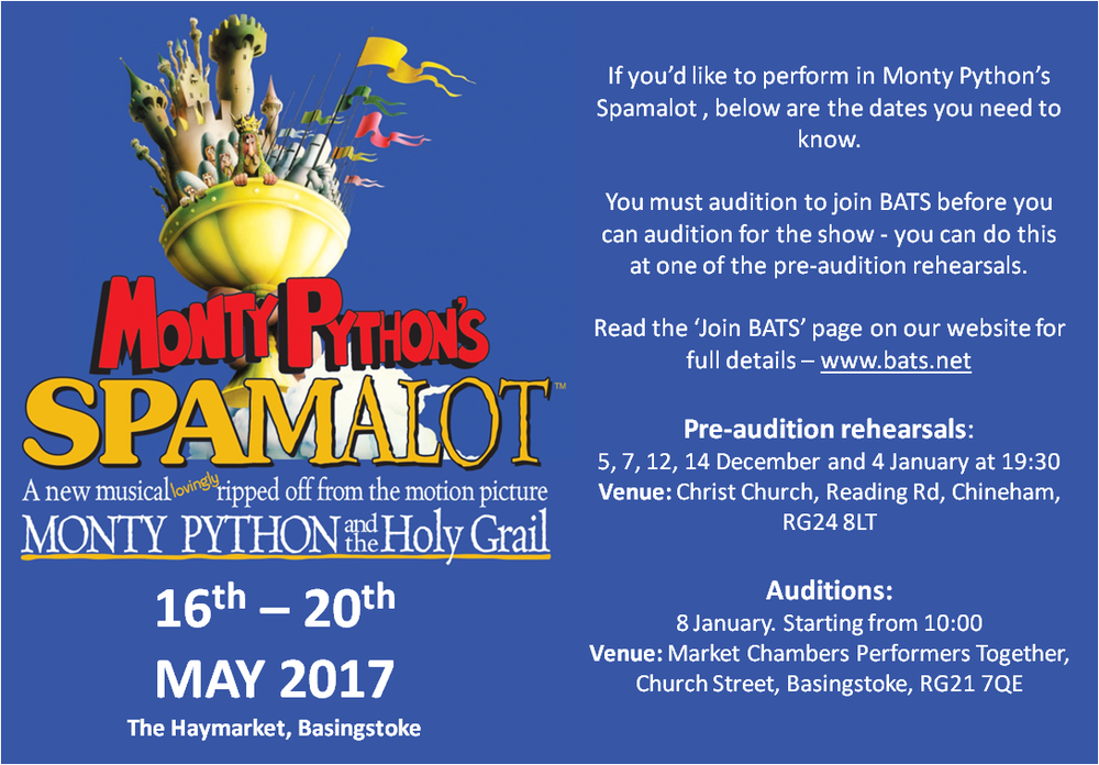 Spamalot audition poster
