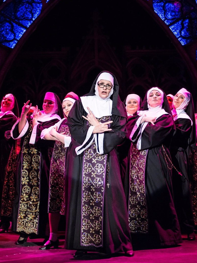 Liz performing in  Sister Act, May 2015 , as Sister Mary Lazarus