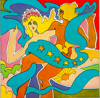 1969 ILLUSTRATION BY JOHN ALCORN, FROM THE COVER OF SYDNEY OMARR'S ASTROLOGICAL BOOK SERIES.