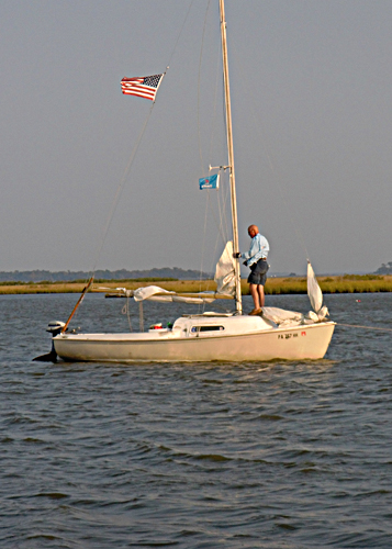 Christina T at anchor in Chincoteague Bay  Photo by Steve Hock