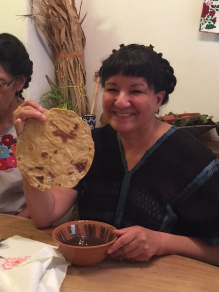 Black bean soup served with huge Yalalag corn tortillas. Photo ©2016 Sandra Cisneros