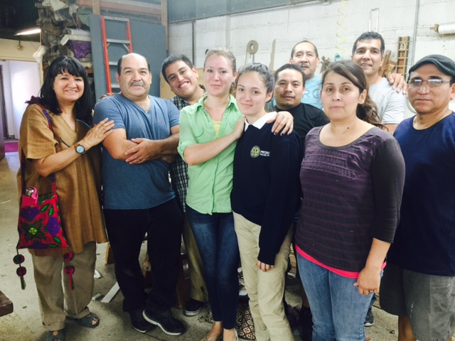 Sandra, and the people who make the magic happen at Cisneros Custom Furniture: (from left) Martin Dominguez, Victor Borbon, Bertha Garcia and her daughter Andrea Ascencio, Francisco Sandoval, Enrique Tapia, Maria Mora, Carlos Cisneros, and Jorge Vasquez. Photo ©2015 Phyllis Lopez