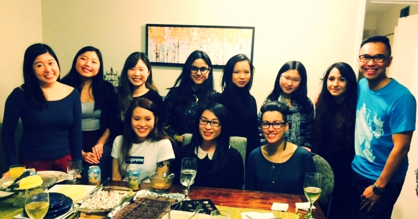 Left to right: (Back Row) Cherie Au, Christine Kim, Annie Chung, Fatima Ahmed, Cheryl Fung, Beatrice Lew, Susan Bahaduri, Alden E. Habacon; (Front Row) Emily Cheung, Amber Ho, Chloë Lai. Taken at 2015 Holiday Potluck.