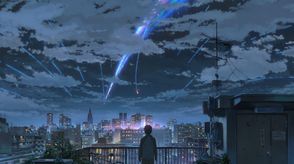 Makoto's use of color in sky scene