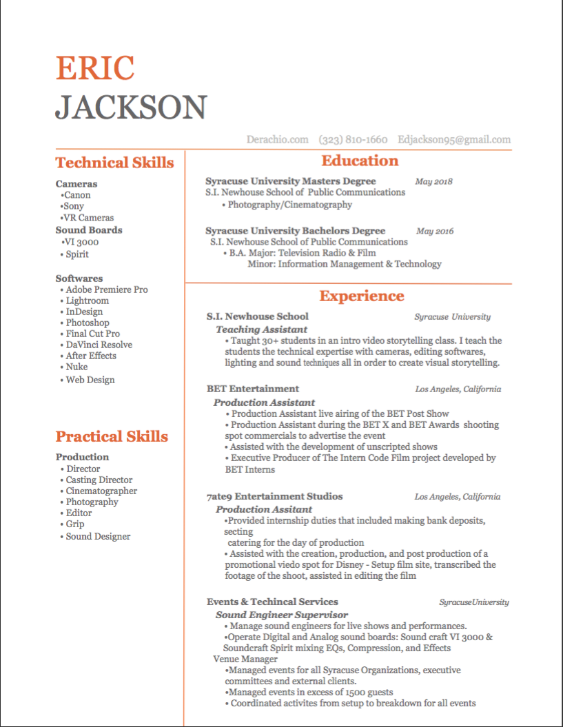 Cinematography Resume - nmdnconference.com - Example Resume And ...
