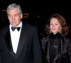 Conrad Black and Barbara Amiel arrive at a dinner to celebrate the 40th anniversary of Annabel's nightclub, in London, September 16, 2003. Mark Stewart/Retna Ltd.
