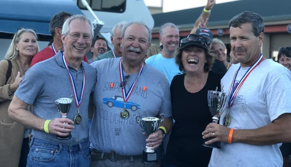 2018 Club Ford Championship Podium, Jeff Rothman (3), Dan Wise (2) Champion Todd Strong, presented by Lynn St. James