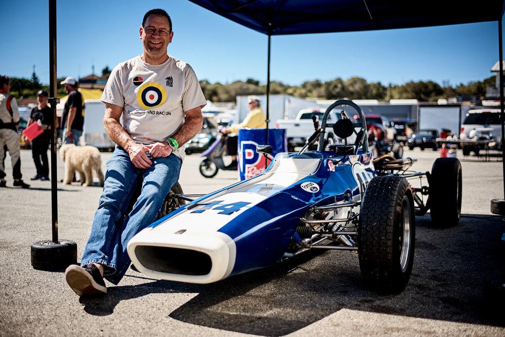 Ed Van Tassel, personifying the weekend, huge smile, fast car, perfect weather