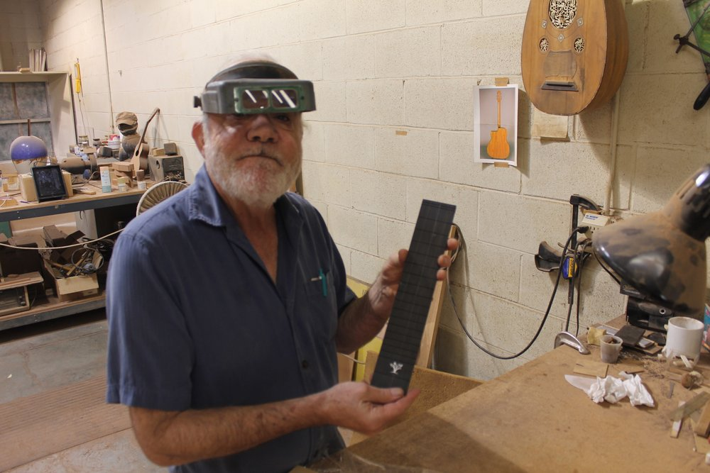 Luthier John Kinnard with the Harvey Leach Project Inlay Fretboard