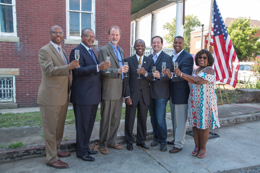 State and local officials join Sly Clyde partners in a toast to the new cidery project that will bring more than $500,000 in investments to the 1.3 acre property.