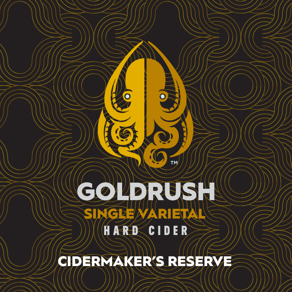 Gold Rush - A single varietal heirloom cider featuring GoldRush apples. A classic cider from one of our favorite apples: bold and vinous with a wonderfully expressive nose. Aged 5 months.