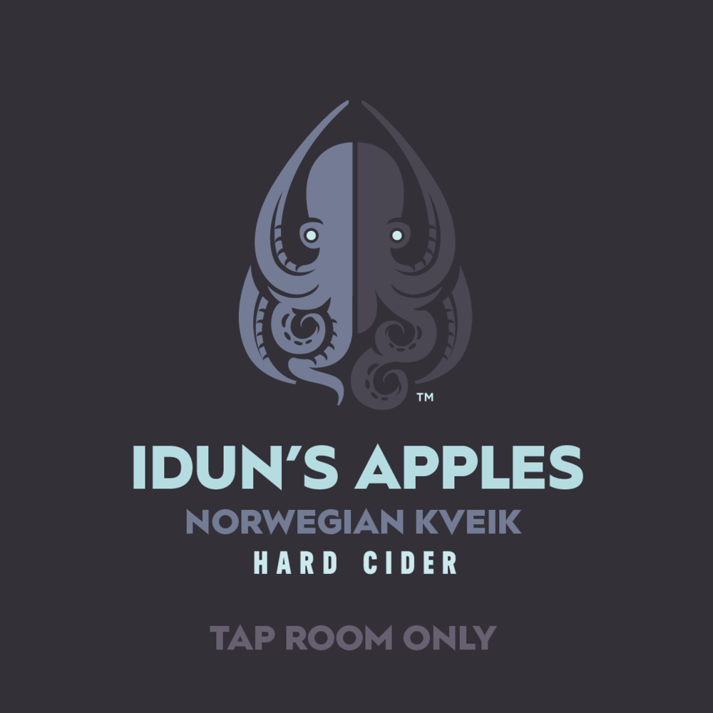 """Idun's Apples is our latest Tap Room exclusive, totally dry cider fermented with Kveik (pronounced """"kwike"""") a Norwegian farmhouse yeast. We named this limited edition cider in honor of Idun, keeper of the apples that give the Norse gods eternal youth."""