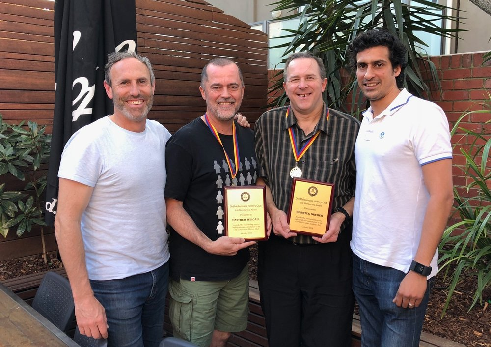 Outgoing President Nick Hinneberg, Life Membership recipients Matty Weigall and Warwick Dreher and incoming President Peter Kaleta