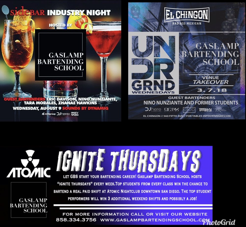 GBS HOST'S EVENTS AT SAN DIEGO'S TOP VENUES GIVING OUR STUDENTS THE OPPORTUNITY TO GET REAL, PAID BARTENDING EXPERIENCE!