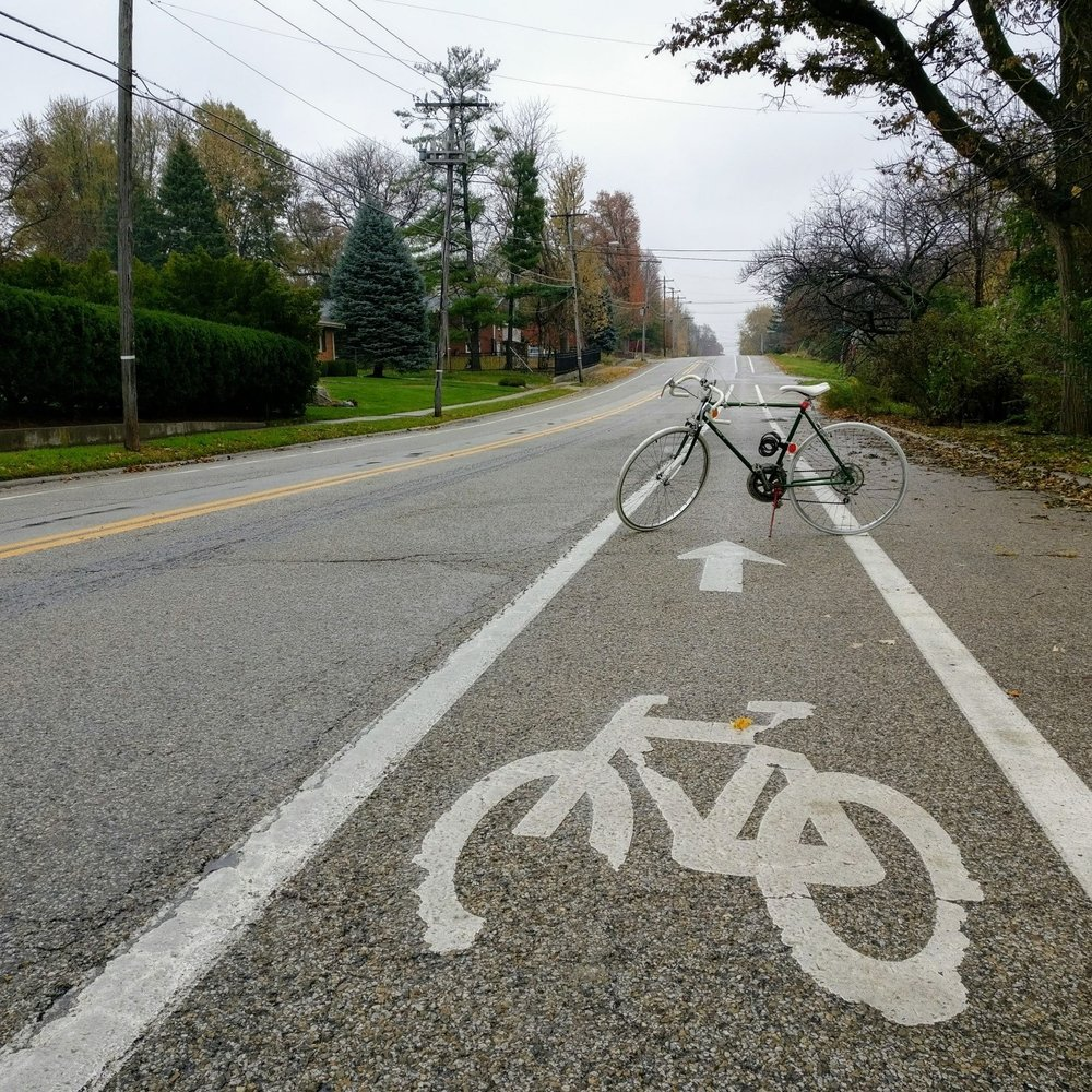 Eastbound bike lane on Jefferson Street in Normal. Photo by Matt Poppe.