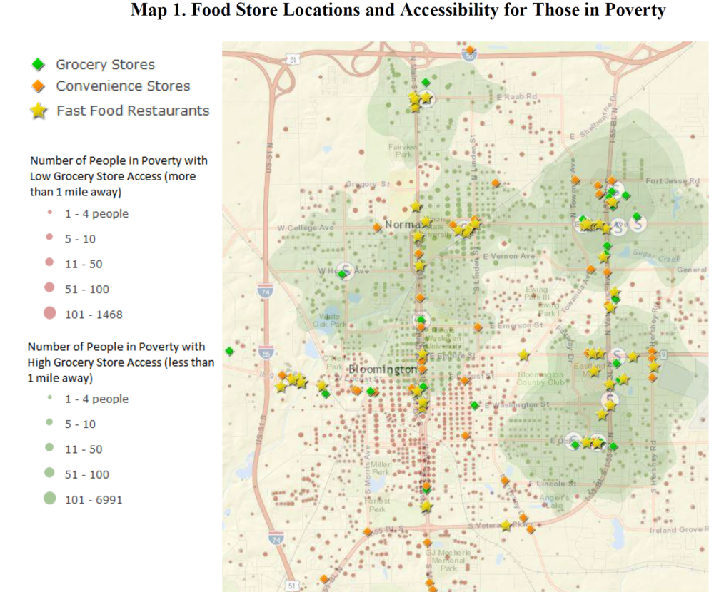 Easy access to grocery options is restricted to many residents of Bloomington's west and south sides.  Credit Stevenson Center for Community and Economic Development