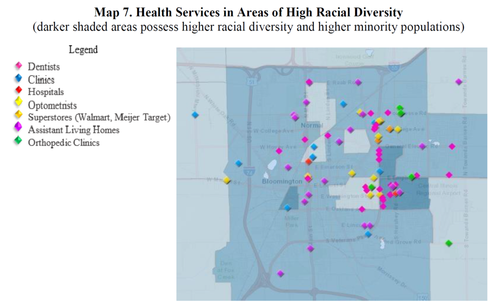 Healthcare facilities in Bloomington-Normal tend to be clustered on each city's east side.  Credit Stevenson Center for Community and Economic Development