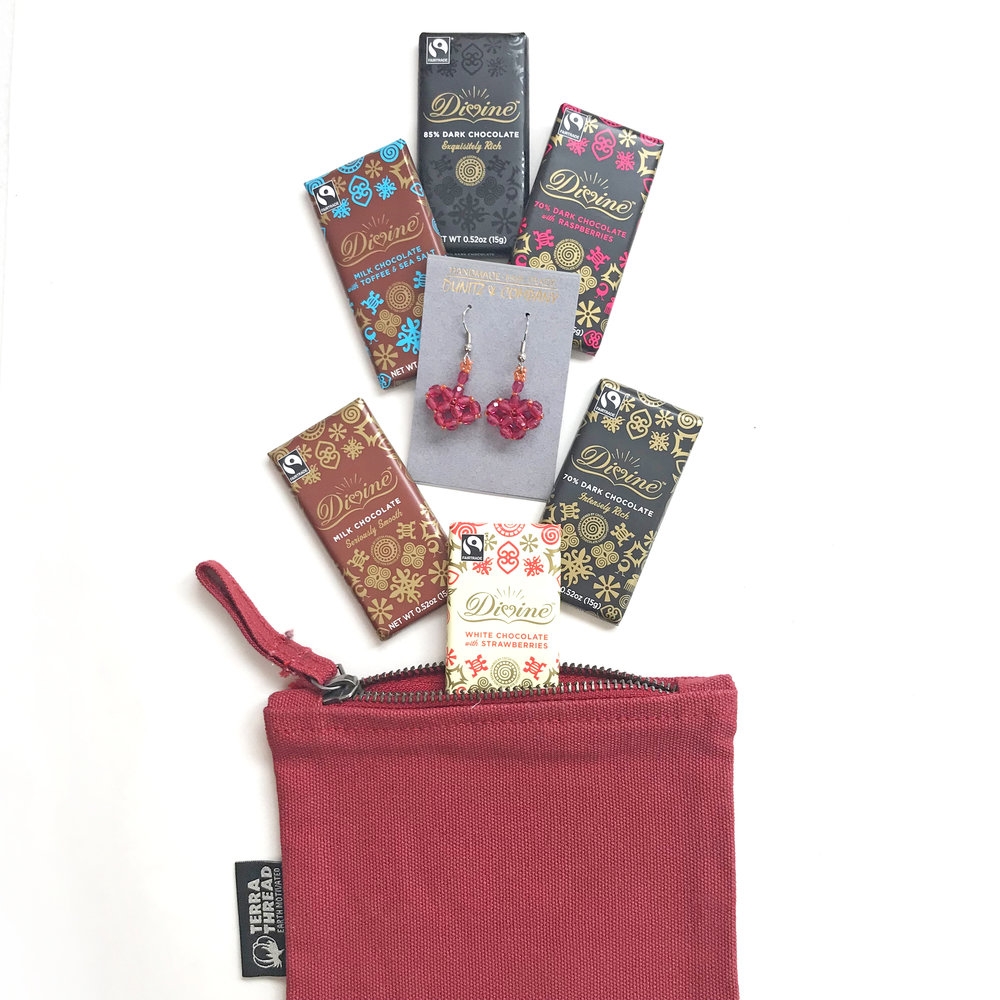 Handmade in Ghana, Guatemala & India$25Valentine's Day Gift Box - By Fair Trade LAThis all-in-one gift set includes 6 Divine Chocolate bars, glass-beaded heart earrings by Dunitz, and a 100% organic cotton pouch by Terra Thread. (colors may vary, and chocolate may not be vegan)