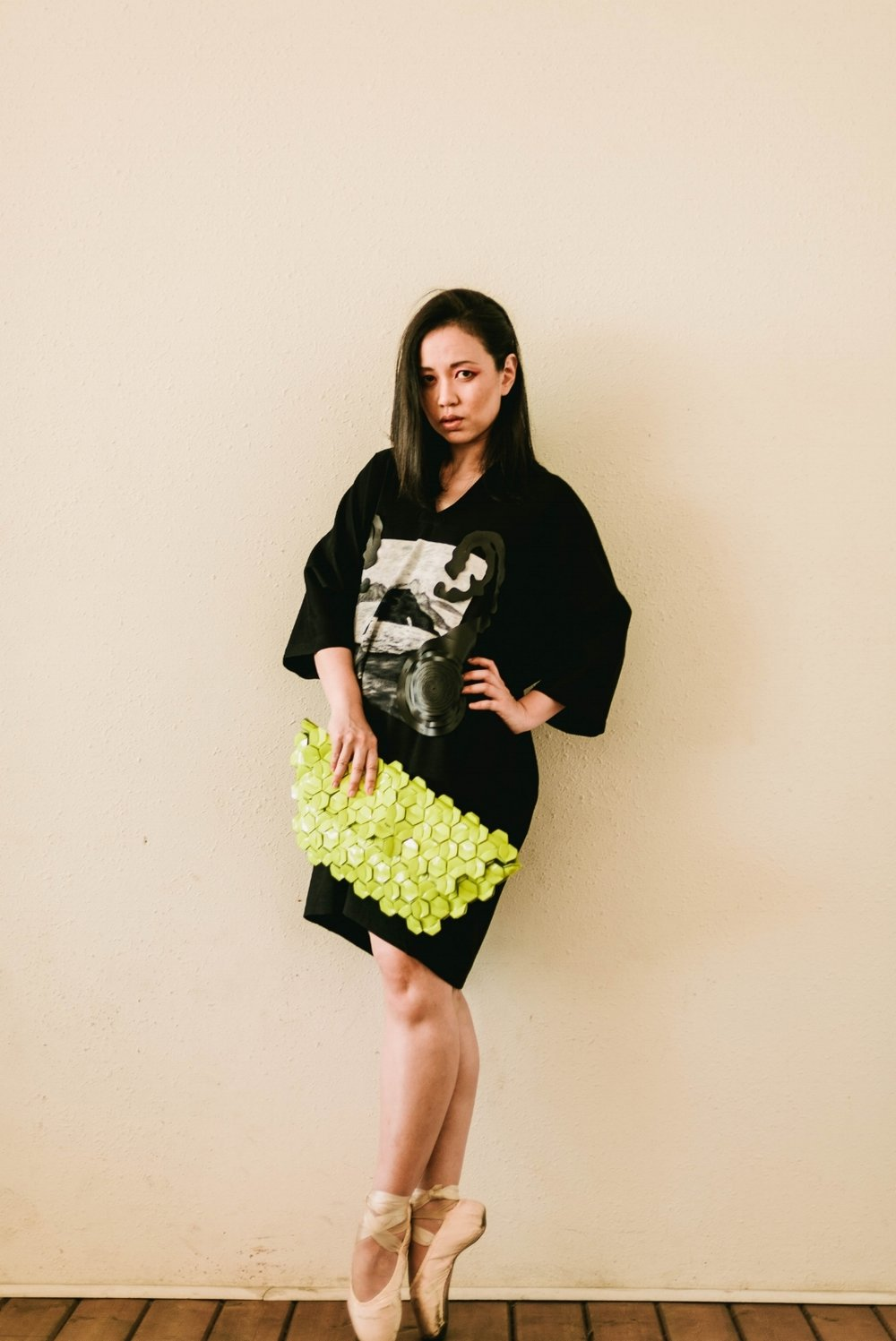 Agnes in  Sav Lavin  dress, purse by  Byo  Indonesia