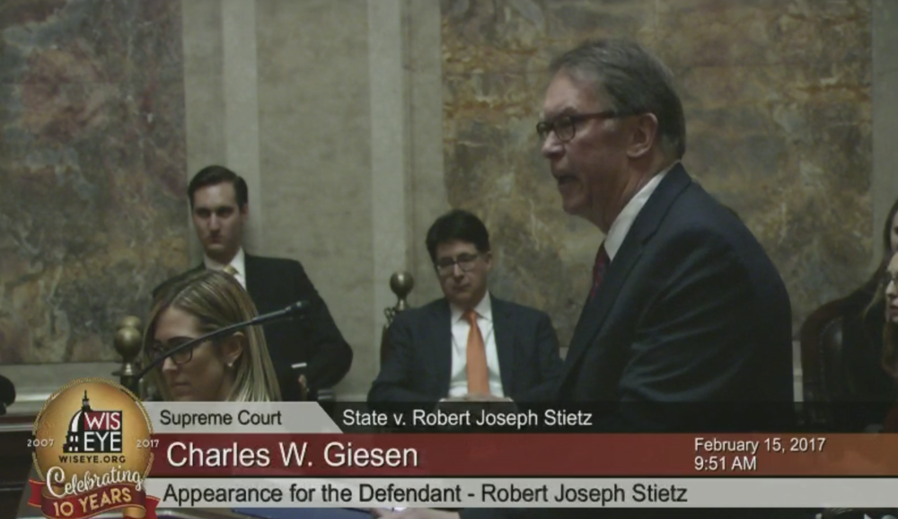 Wisconsin Supreme Court Oral Arguments in State of Wisconsin v. Robert J. Stietz - Full video  here