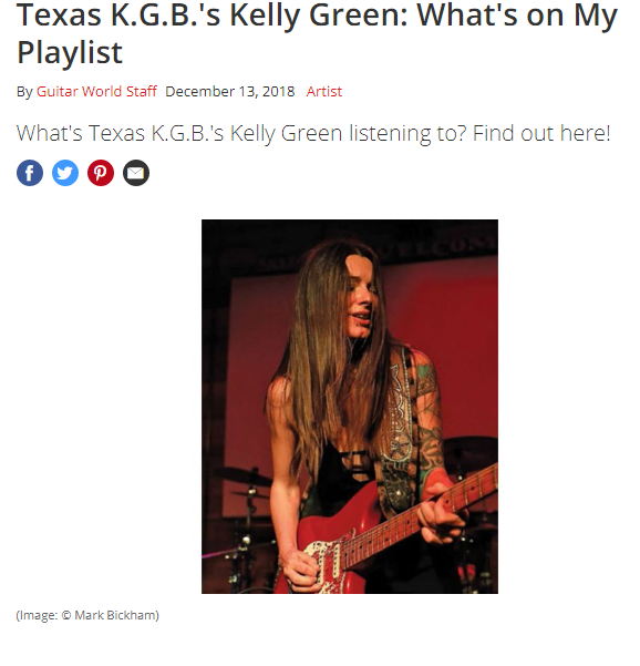 "Guitar World Magazine ""What's on My Playlist""  December 13, 2018"