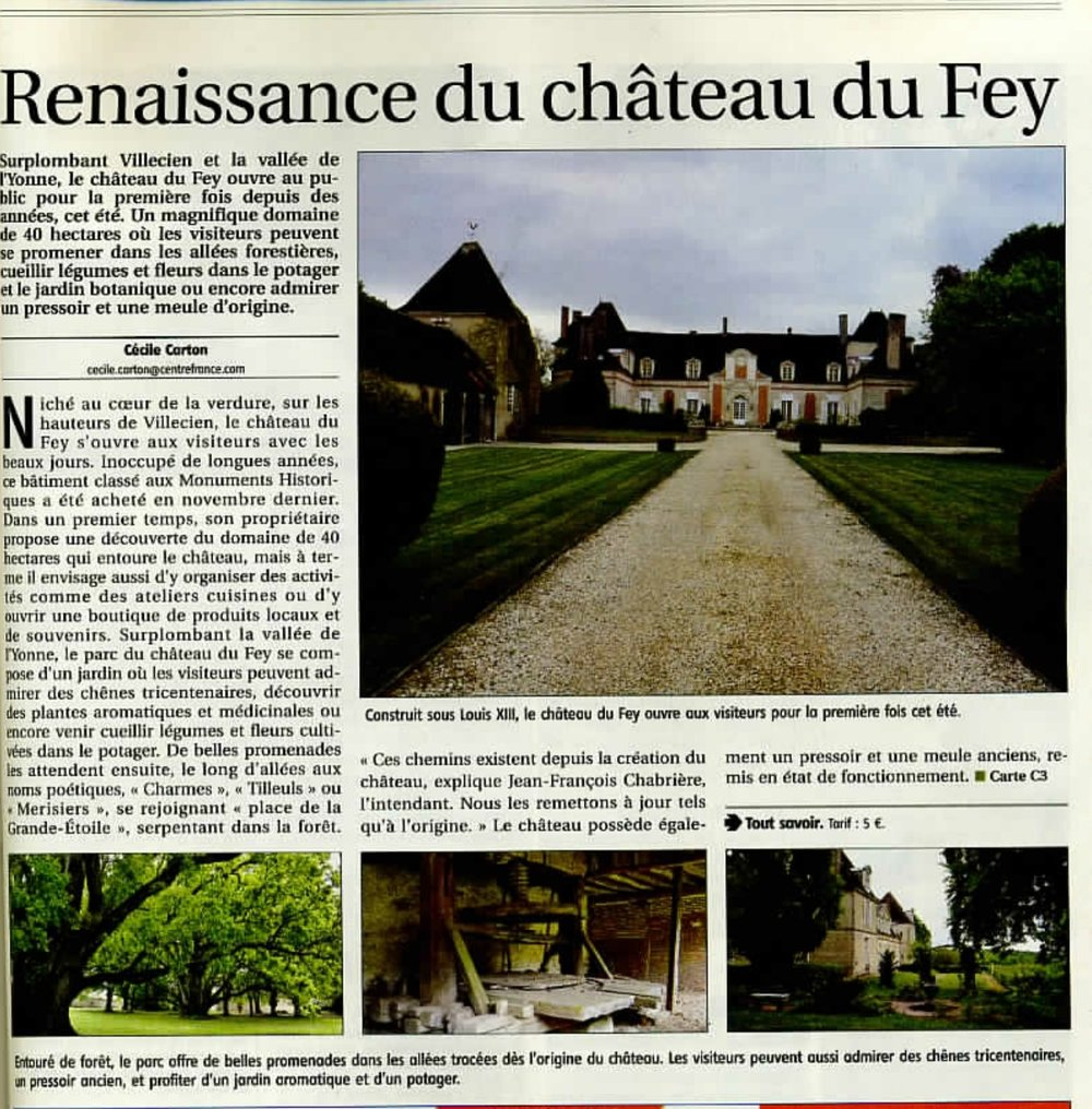 July 2017  French article on the Château's revival