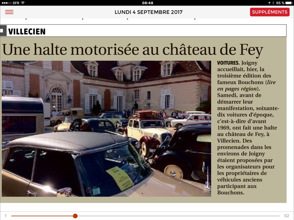 Article tiré de l'Yonne Républicaine du 4 Septembre 2017