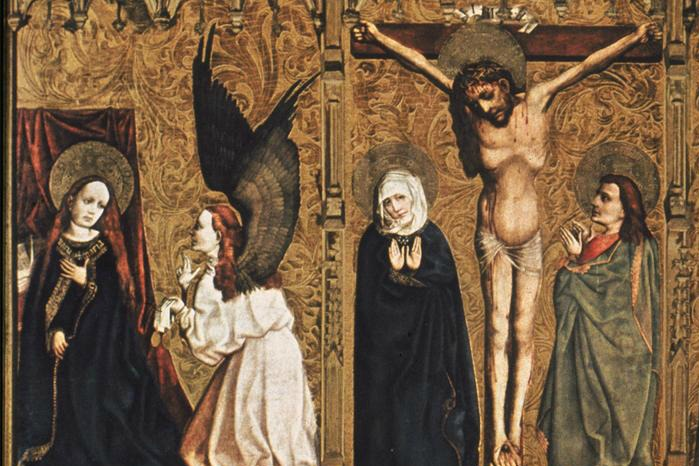 Tucher Altarpiece, detail: Annunciation and Crucifixion (c.1448); courtesy ARTstor Slide Gallery (University of California, San Diego)