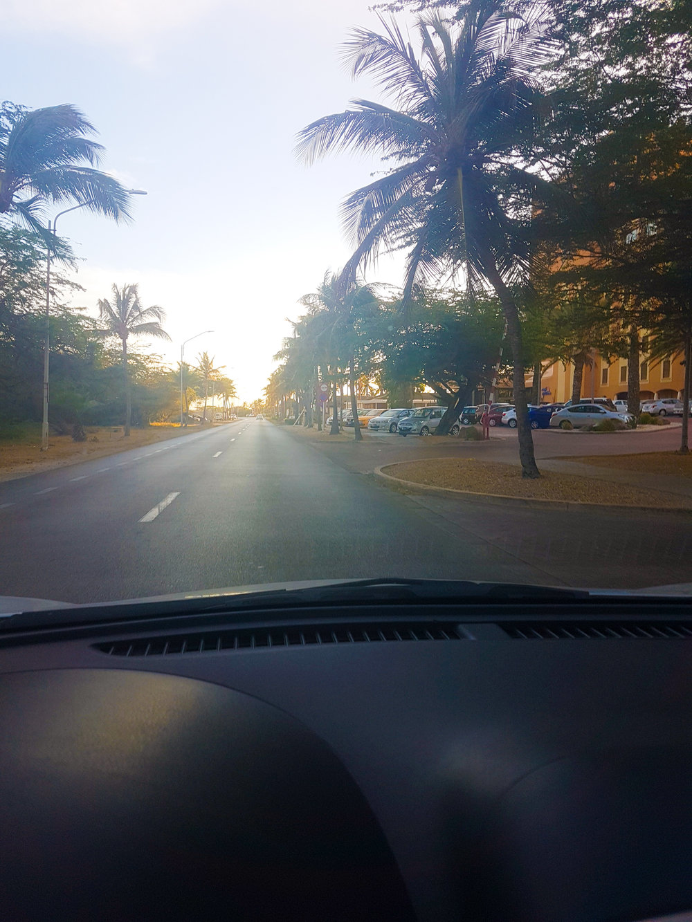 Driving to the beautiful sunsets in Aruba.